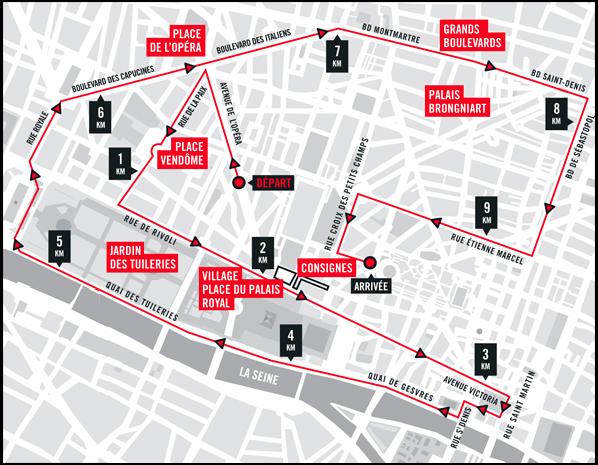 parcours 10km paris centre